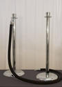 CHROME AISLE STANCHIONS WITH VELVET ROPE