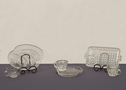 ANTIQUE GLASS LUNCHEON PLATE & PUNCH CUP