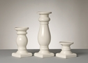 WHITE CERAMIC CANDLE HOLDERS